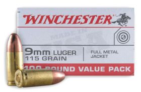 Winchester 9MM Luger 115GRN FMJ 100RD Value Pack UPC 020892212978 MFG# : USA9MMVP ( 100 )